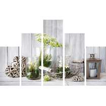 Art for the Home schilderij Botanisch - 5 delen - grijs - 150x100 cm