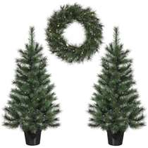 Edelman Glendon set 2 kerstbomen 1 krans LED - groen