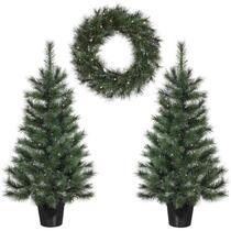 Set de 2 sapins de Noël Edelman Glendon 1 couronne LED - vert
