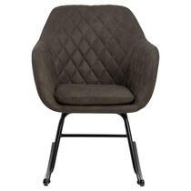 Schommelstoel Anada is een echte eyecatcher in je interieur! De stoel is bekleed met een olijfgroene stof en zit heerlijk. Dit is een slijtvaste en zeer comfortabele meubelstof genaamd Preston.