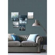 Wohnidee canvas set van 5 Blauwe Stilte - blauw - 60x80 cm