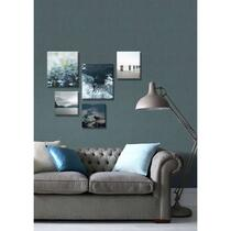 Wohnidee ensemble de 5 toiles Silence bleu - bleu - 60x80 cm