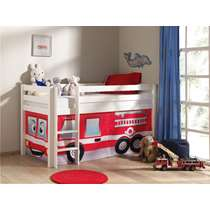 Vipack lit surélevé Pino avec ensemble pompiers - blanc