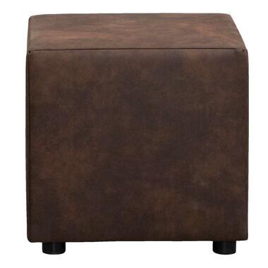 Hocker Nando - donkerbruin - stof Preston - 46x46x46 cm - Leen Bakker