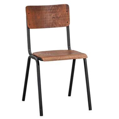 Eetkamerstoel Oscar - hout - bruin/zwart - Leen Bakker