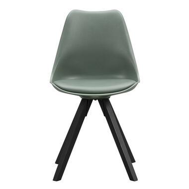 Eetkamerstoel Senja - kunststof - groen - zwart hout - Leen Bakker