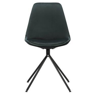 Eetkamerstoel Senja - velvet - groen - zwart metaal - Leen Bakker