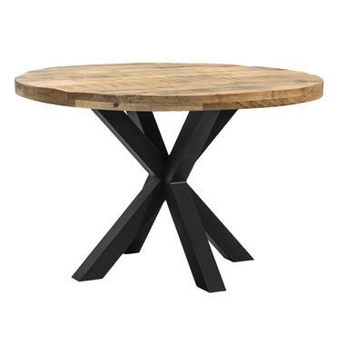 Eetkamertafel Trevor spinpoot - bruin/zwart - 78x120 cm - Leen Bakker
