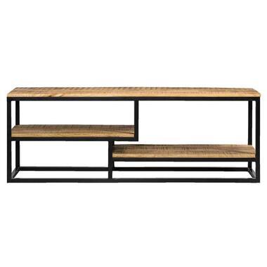 TV-dressoir Kyan - zwart/naturel - 50x150x35 cm - Leen Bakker
