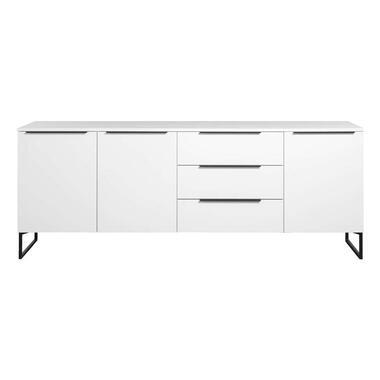 Dressoir Malaga - wit/zwart - 88x228x48 cm - Leen Bakker