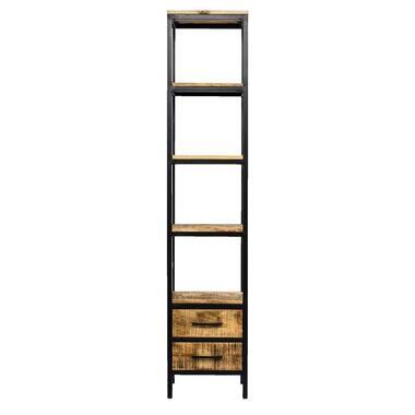 Boekenkast Kyan - zwart/naturel - 190x40x40 cm - Leen Bakker