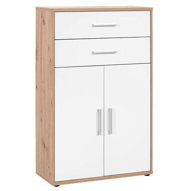 Boekenkast Belmont 2-deurs, 2 lades - eikenkleur/wit - 123,2x78x35,4 cm - Leen Bakker