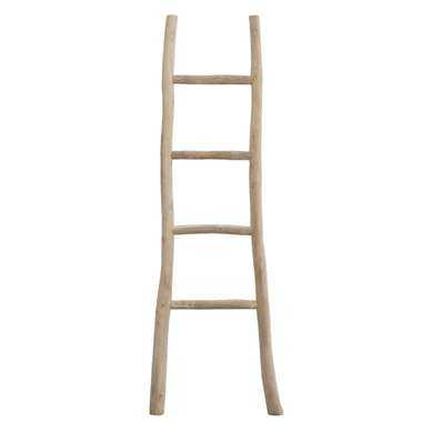 Decoratieve ladder Roel - teakkleur - 160x55x5 cm - Leen Bakker