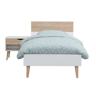 Bed Delta - wit/eiken - 90x200 cm - Leen Bakker