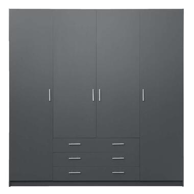 Kledingkast Sprint 4-deurs - donkergrijs - 200x196x50 cm - Leen Bakker