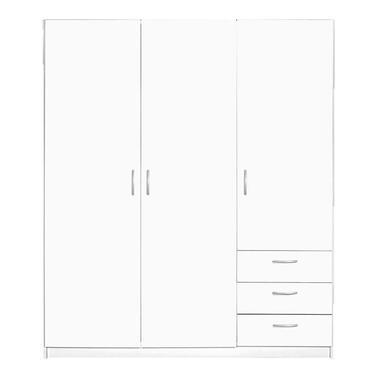 Kledingkast Varia 3-deurs - wit - 175x146x50 cm - Leen Bakker