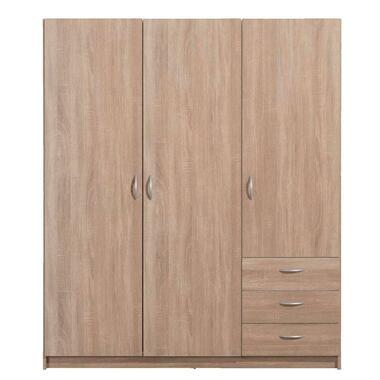 Kledingkast Varia 3-deurs - licht eiken - 175x146x50 cm - Leen Bakker