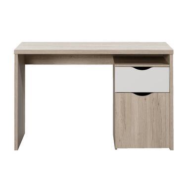 Bureau Tempo - eikenkleur/wit - 76x120x55 cm - Leen Bakker