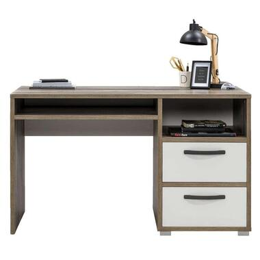 Bureau Mono - wit/steigerhoutlook - 75x125x55 cm - Leen Bakker