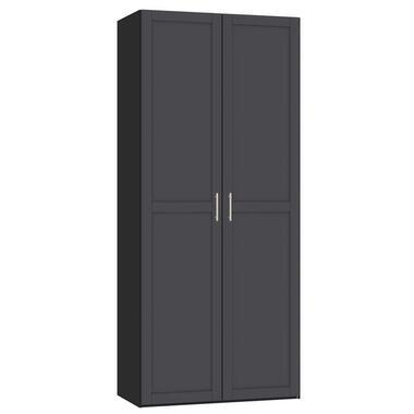 STOCK kledingkast 2-deurs - zwart/antraciet - 236x101,9x56,5 cm - Leen Bakker