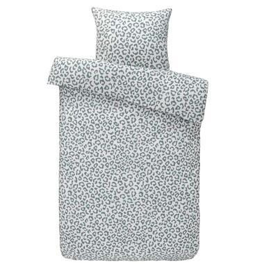 Dekbedovertrek Mason flanel - off-white/groen - 140x200/220 cm - Leen Bakker