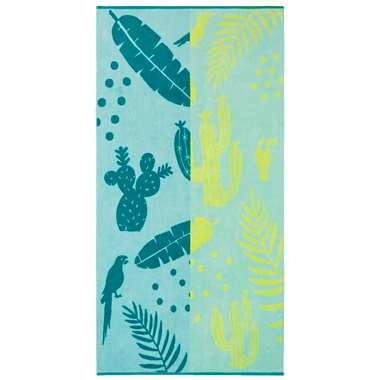 Kaat Amsterdam strandlaken Lemon drop blauw geel 100x180 cm Leen Bakker