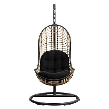 Le Sud hangstoel Vienne - zwart/naturel - 105x196 cm - Leen Bakker