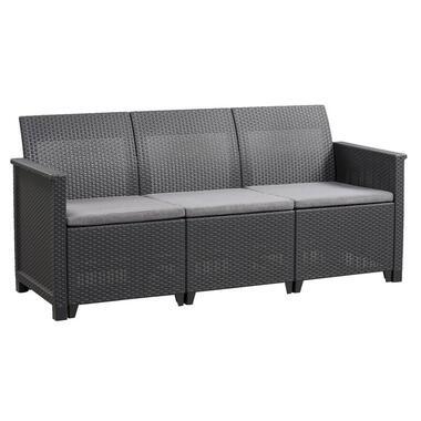 Keter 3-zits loungebank Emma - antraciet - 74xx163x74 cm - Leen Bakker