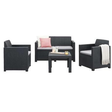 Allibert loungeset Messina - grijs - 4-delig (inclusief kussens) - Leen Bakker