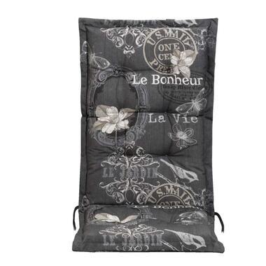 Terrasstoelkussen La Vie - antraciet - 123x50x8 cm - Leen Bakker