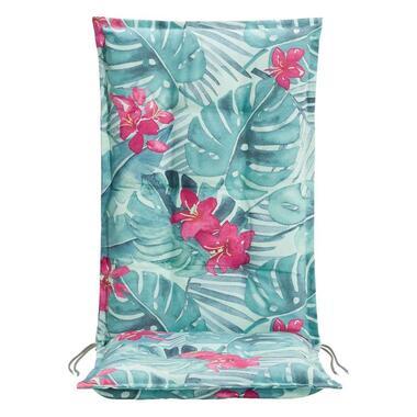 Le Sud terrasstoelkussen Tropical Flower - aqua - 123x50x8 cm - Leen Bakker