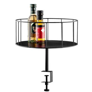 Dienblad met klem - zwart - 36/12x30 cm - Leen Bakker