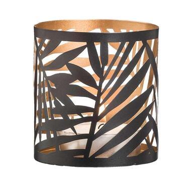 Theelichthouder Felipe - zwart/goudkleur - 10x9,3 cm - Leen Bakker