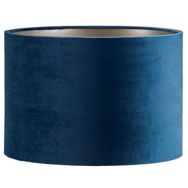 Kap Cilinder - blauw - velours - 30x21 cm - Leen Bakker