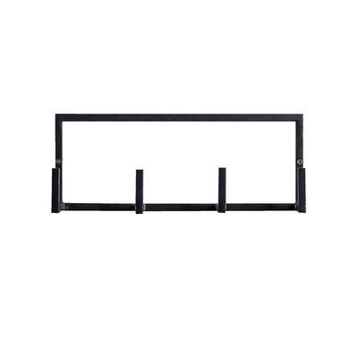 Wandhaak Aken 4 haken - zwart - 12x30,5x8 cm - Leen Bakker