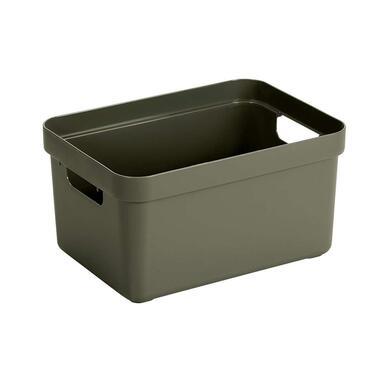 Sigma home box 13 liter - donkergroen - 35,2x25,3x18,3 cm - Leen Bakker