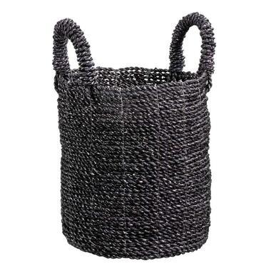 Mand Tom - zwart/wit - zeegras - Ø25x30 cm - Leen Bakker