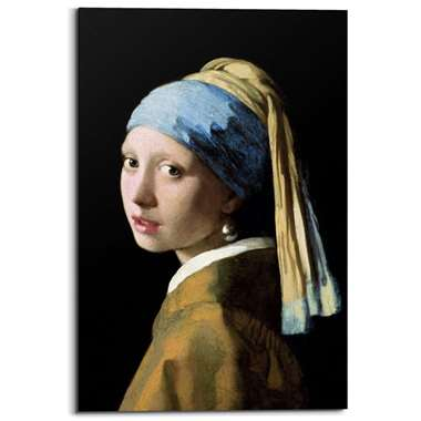Schilderij Meisje met de parel - Bruin - 60x90 cm - Leen Bakker