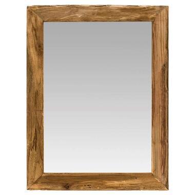 Spiegel Mees - recycled hout - bruin - 65x45 cm - Leen Bakker