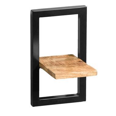 Wandplank Bart zwart naturel 35x20x25 cm Leen Bakker
