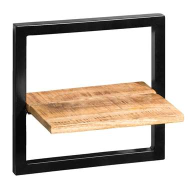 Wandplank Bart - zwart/naturel - 35x35x25 cm - Leen Bakker