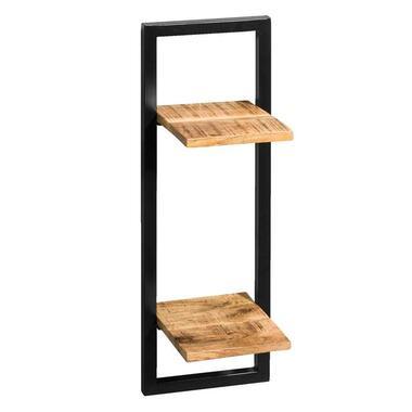 Wandplank Bart - zwart/naturel - 75x25x25 cm - Leen Bakker