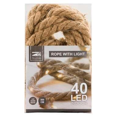 Touw met 40 led lichtjes - bruin - 300 cm - Leen Bakker