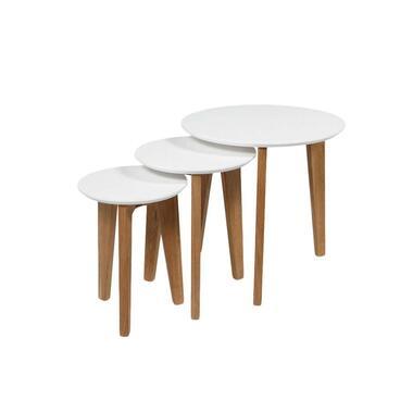 Bijzettafel Hamar - wit/eiken (3 stuks) - 50x50x50 cm - Leen Bakker