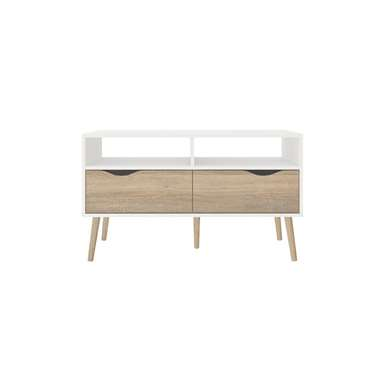 TV-meubel Delta 4-vaks wit bruin 986x39x576 cm Leen Bakker