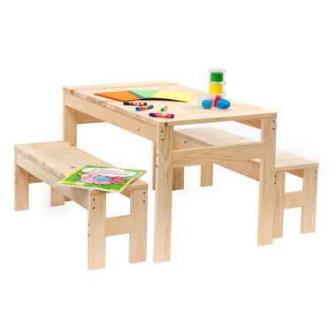 Outdoor Life kindertafel incl. bankjes - blank - 50x89x50 cm - Leen Bakker