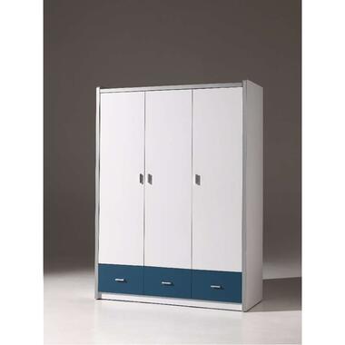 Vipack 3-deurs kledingkast Bonny - blauw - 202x141x60 cm