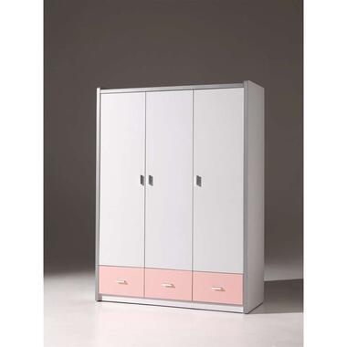 Vipack 3-deurs kledingkast Bonny - lichtroze - 202x141x60 cm