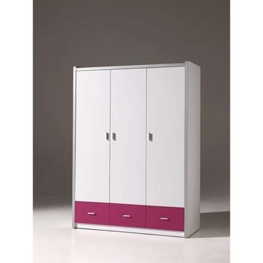 Vipack 3-deurs kledingkast Bonny - fuchsia - 202x141x60 cm