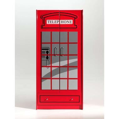 Vipack 2-deurs kledingkast Telefooncel London - rood - 190x90x56 cm